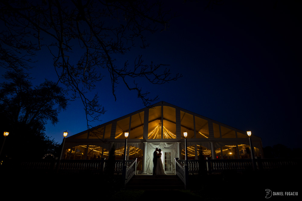 Penn Oaks tent at dusk