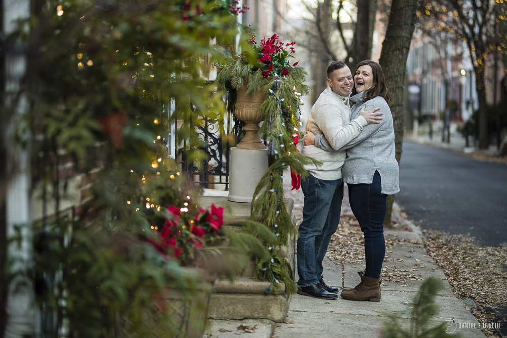 Addison street engagement photos at Christmas time