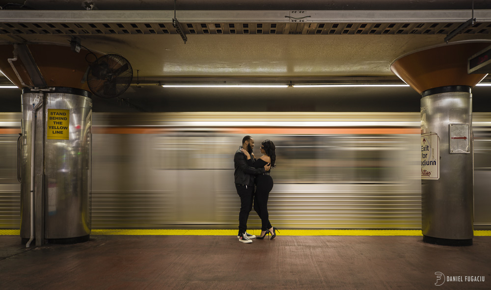 Engagement photos in the Philly subway
