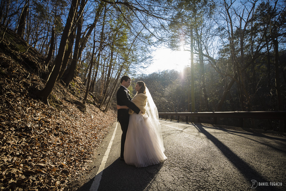 sunny portrait of bride and groom